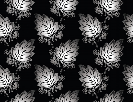 Seamless royal silver vector leaves wallpaper