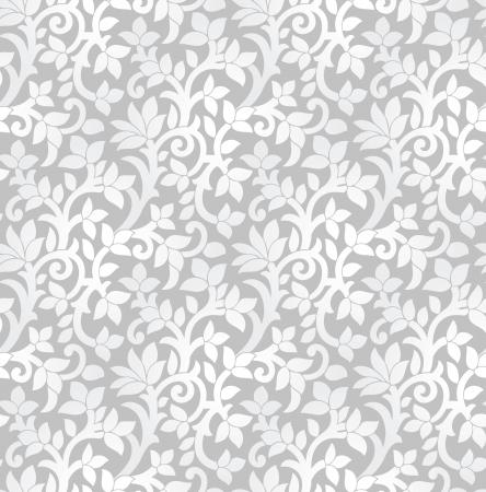 Seamless lussuoso argento carta da parati floreale Archivio Fotografico - 20995679