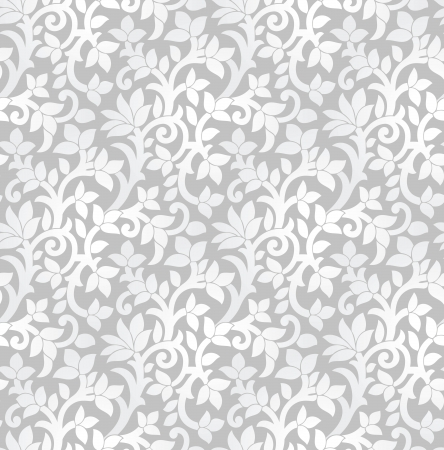 Seamless luxurious silver floral wallpaper Vector