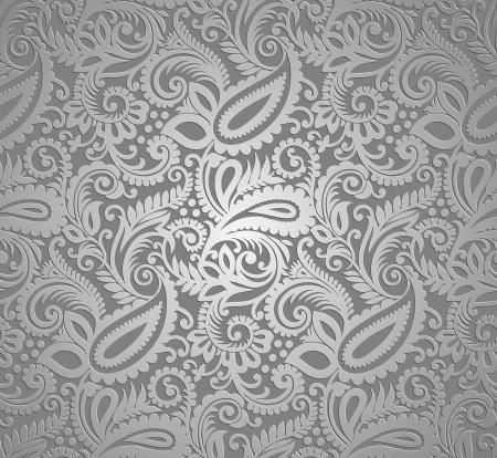 motif cachemire: Paisley papier peint argent