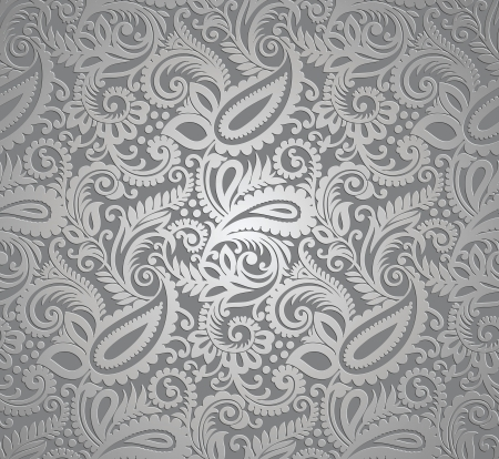 gray texture background: Paisley silver vector wallpaper Illustration