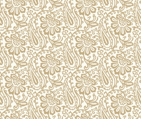 mustered: Seamless flower with paisley wallpaper Illustration