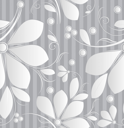 Floral silver seamless wallpaper Vector