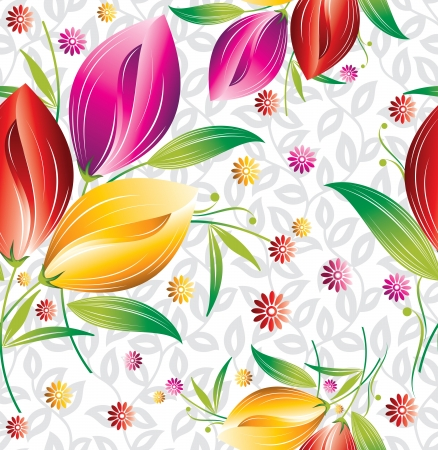 Seamless floral curtain background Vector