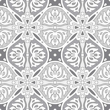 Seamless silver damask wallpaper Vector