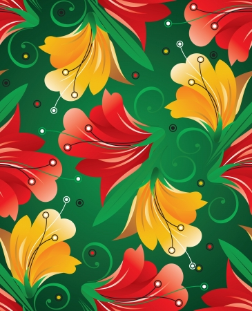 mustered: Seamless textile floral background Illustration