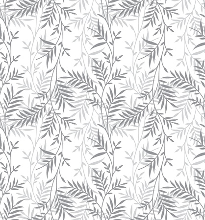 Seamless fancy silver leaves background Illustration