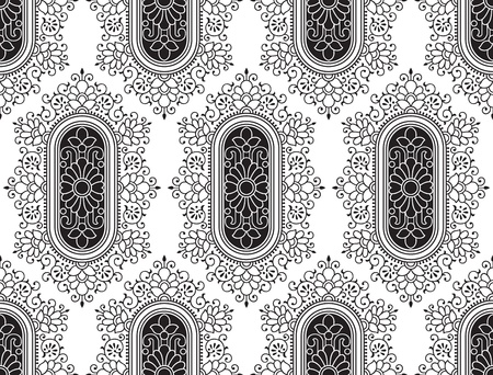 rich black wallpaper: Seamless black fancy floral wallpaper Illustration