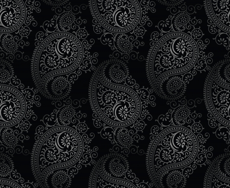 traditional silver wallpaper: Seamless royal black paisley background Illustration