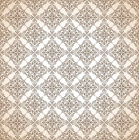 mustered: Seamless brown ornamental wallpaper Illustration