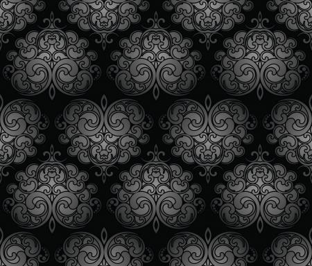 Seamless black royal damask wallpaper Vector