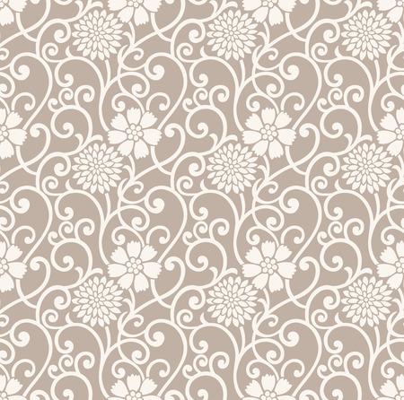 Fancy floral seamless wallpaper Stock Vector - 25996341