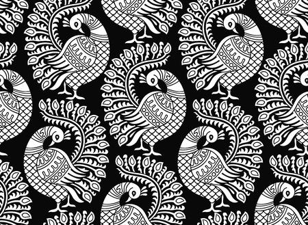 disegni cachemire: Senza soluzione di continuità disegno vettoriale pavone Vettoriali