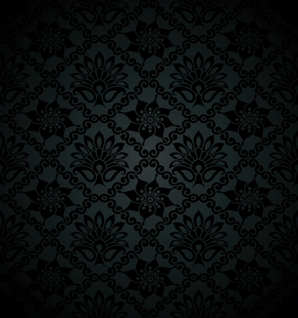 rich black wallpaper: Royal floral black wallpaper