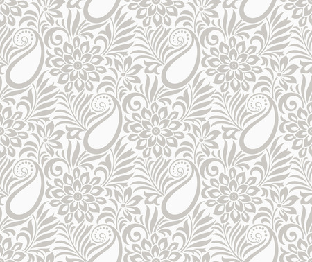 rich black wallpaper: Seamless paisley with flower Illustration
