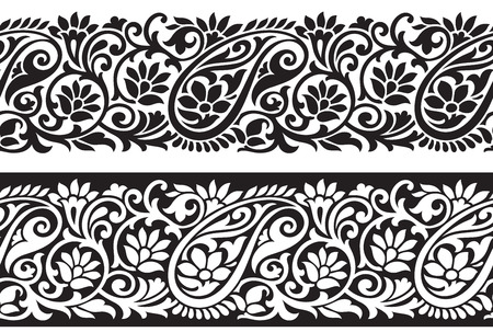 Seamless paisley border Illustration