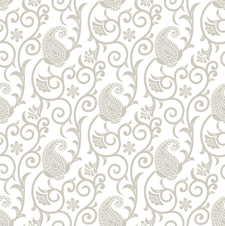 Fancy seamless floral background with paisley Vector