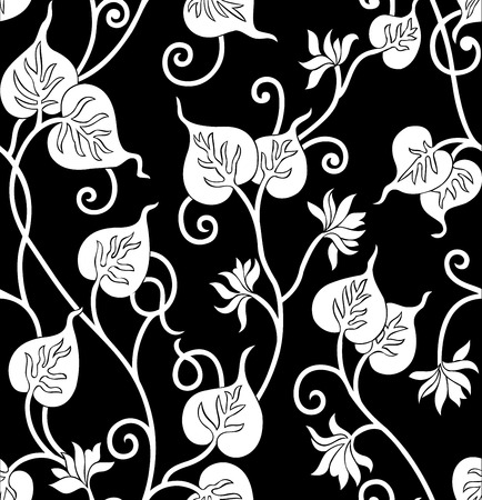 rich black wallpaper: Seamless leaves background