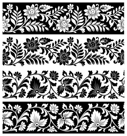 sari: Fronteras florales de lujo en el fondo blanco Vectores