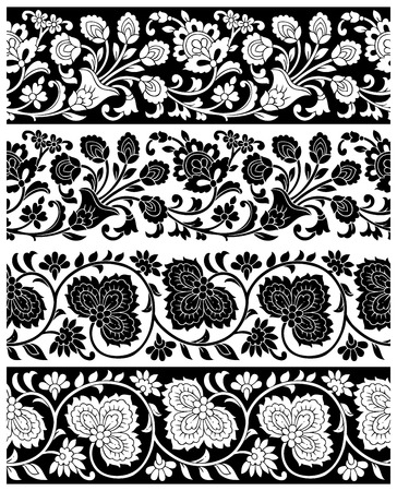 saree: Vector floral borders Illustration