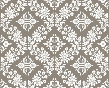 mustered: Floral damask seamless wallpaper