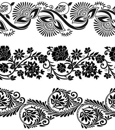 sari: Fronteras florales de vectores Vectores