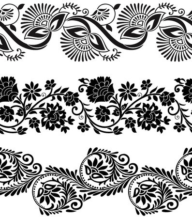 Floral vector borders