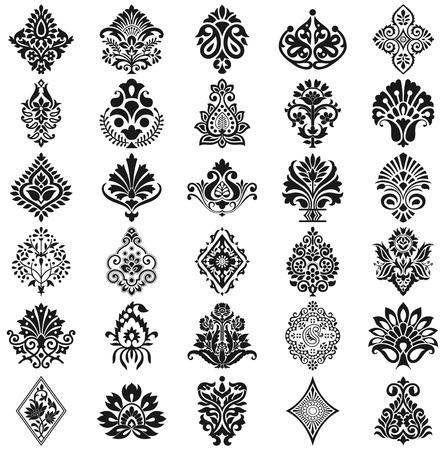 Damask floral pattern set Vector