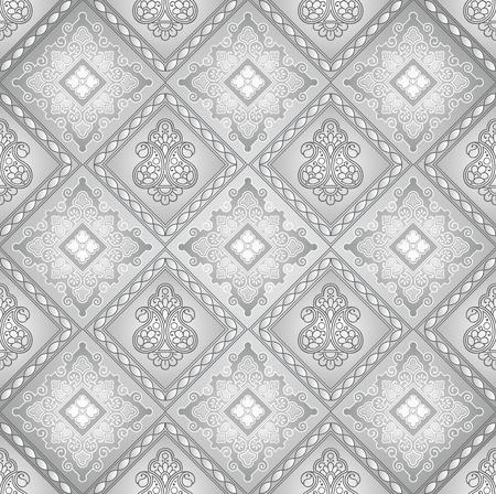 laminated: Paisley seamless silver background Illustration