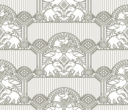 Traditional seamless wallpaper with elephant and peacock Vector
