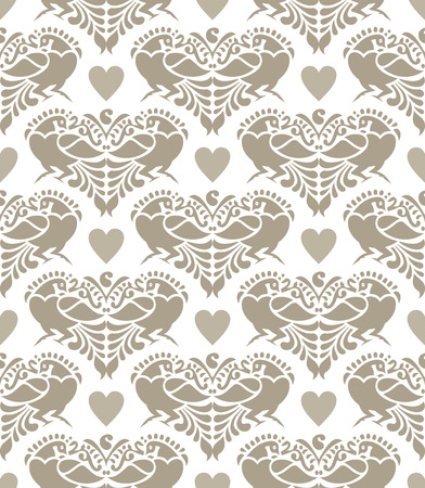Seamless background of love birds Vector