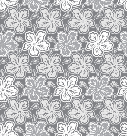 rich black wallpaper: Seamless silver floral pattern