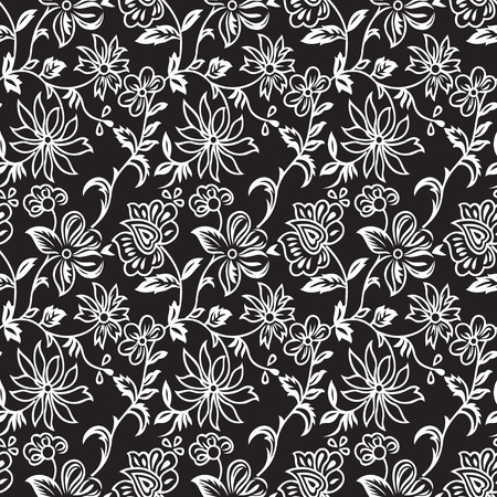 seamless pattern: Seamless flower pattern on black background