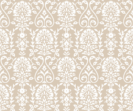 Seamless Damask Wallpaper on golden background