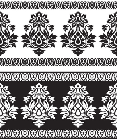 indian traditional: Seamless black and white border for textile fabrics