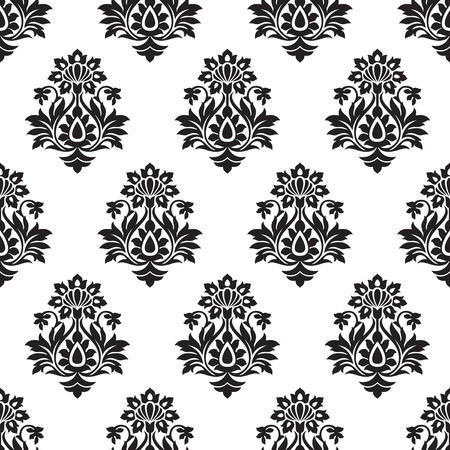 luxurious seamless wallpaper: Damask seamless black and white wallpaper Illustration