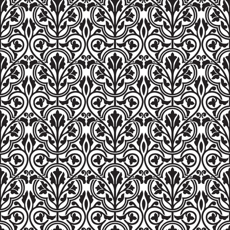 wallpaper floral: Damask seamless black and white floral wallpaper Illustration