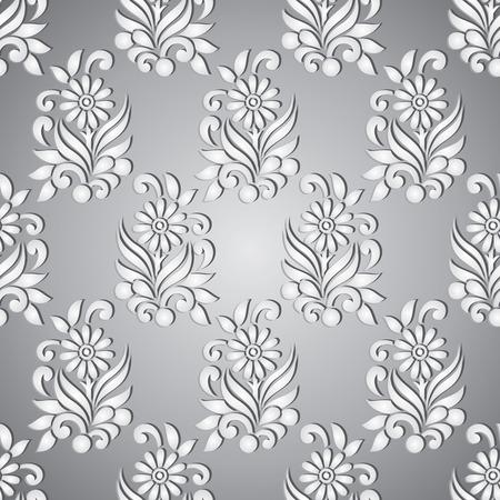 Diseño de patrón de plata floral transparente