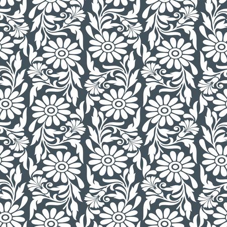 silver texture: Floral seamless wallpaper