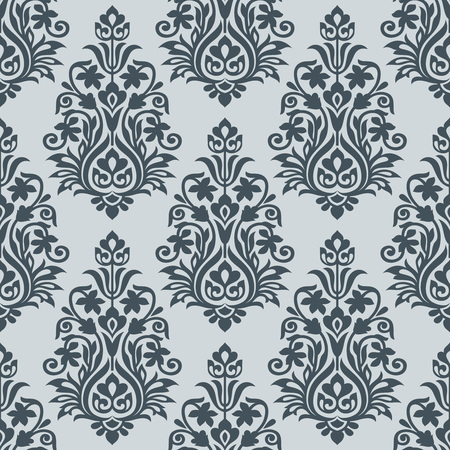 wallpaper floral: Seamless silver damask wallpaper design