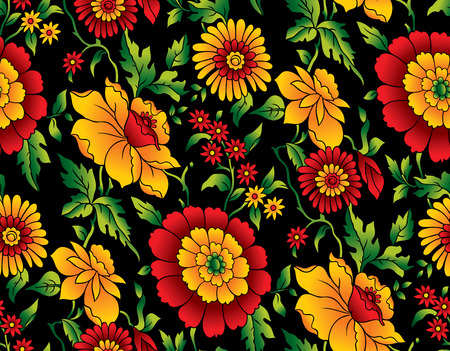 Vector - Illustration of seamless pattern of colorful flower on black background Illustration