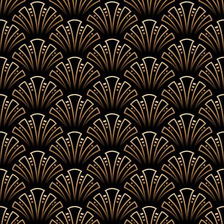 Vector - Vector illustration of golden seamless pattern in art deco style Illustration