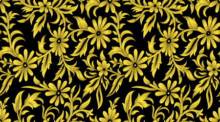 royals: Seamless golden floral pattern on black background Stock Photo
