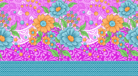 Seamless traditional indian floral border