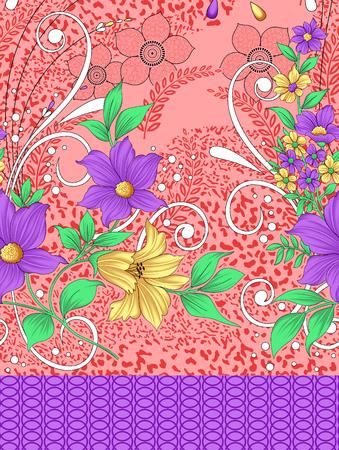 red carpet background: Seamless textile floral border