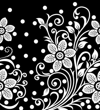 Naadloze zwart-witte bloemengrens