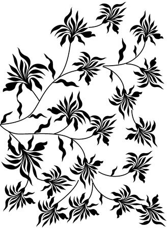 Black and white floral motif Stock Photo