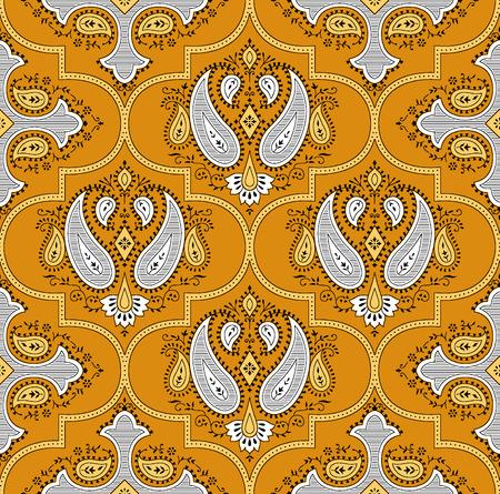 Seamless traditional indian yellow pattern Stock Photo