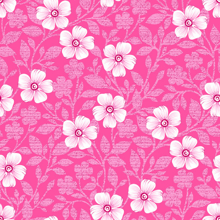 Seamless cute pink floral pattern