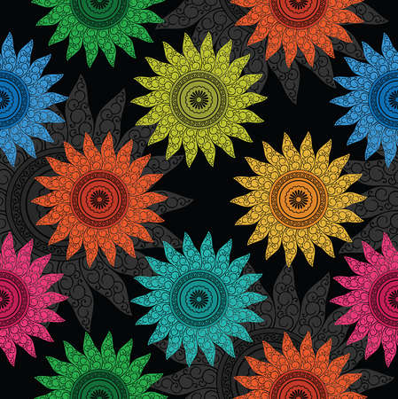 Seamless colorful fancy floral wallpaper pattern background